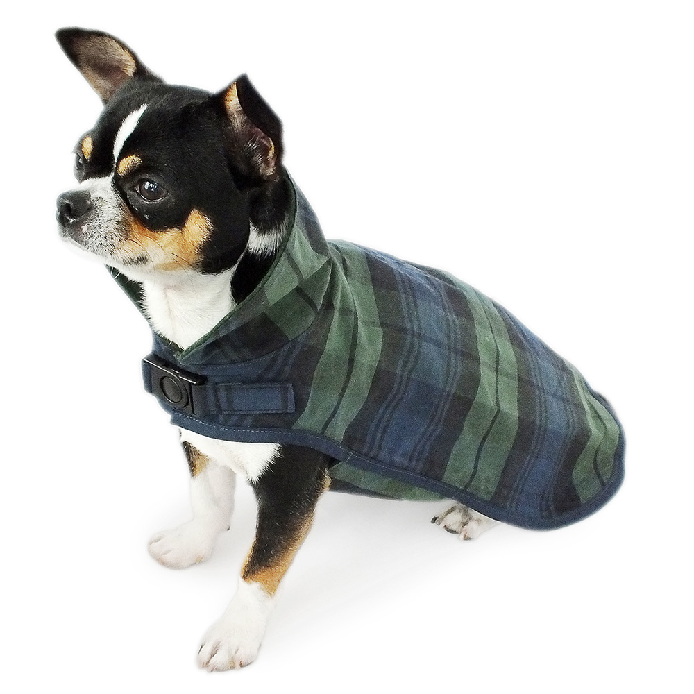 Oilskin Hundemantel mit hohem Kragen aus blau-grün kariert gewachster Baumwolle. Winddicht, wasser- und schmutzabweisend - ideal für nasse Tage dank temperaturausgleichenden und atmungsaktiven Eigenschaften. Innenfutter grüner Loden.