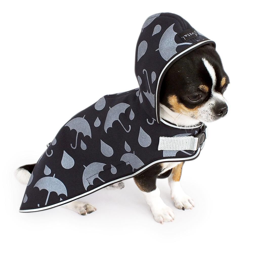 Hundemantel mit Kapuze aus anthrazitfarbenem Softshell mit reflektierendem Regenschirmmuster für Sichtbarkeit in der Dunkelheit. Innenfutter wärmendes Fleece.