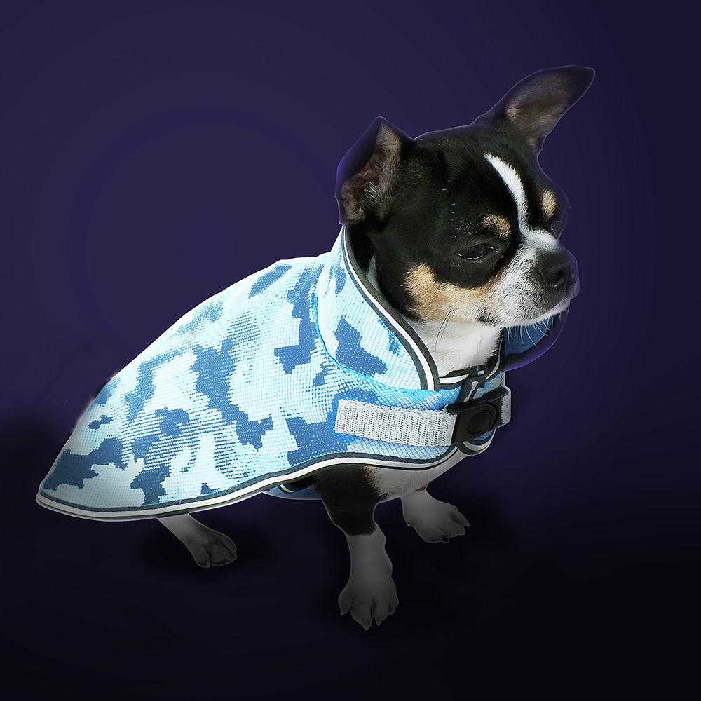 Schützender Softshell Hundemantel mit eingearbeiteten Reflektoren für Sichtbarkeit in der Dunkelheit.